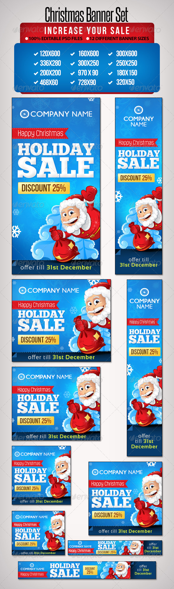 Christmas Banner Set 5 - 12 Sizes - Banners & Ads Web Elements