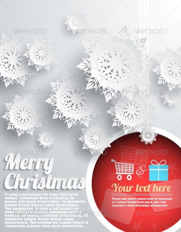 Merry Christmas Background with Snowflake and Ball - Christmas Seasons/Holidays
