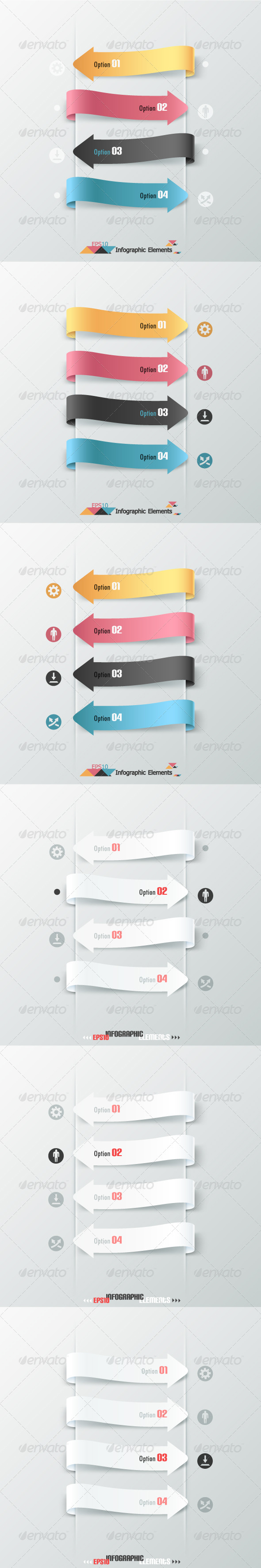Set Of Six Infographic Banners With Arrows - Infographics
