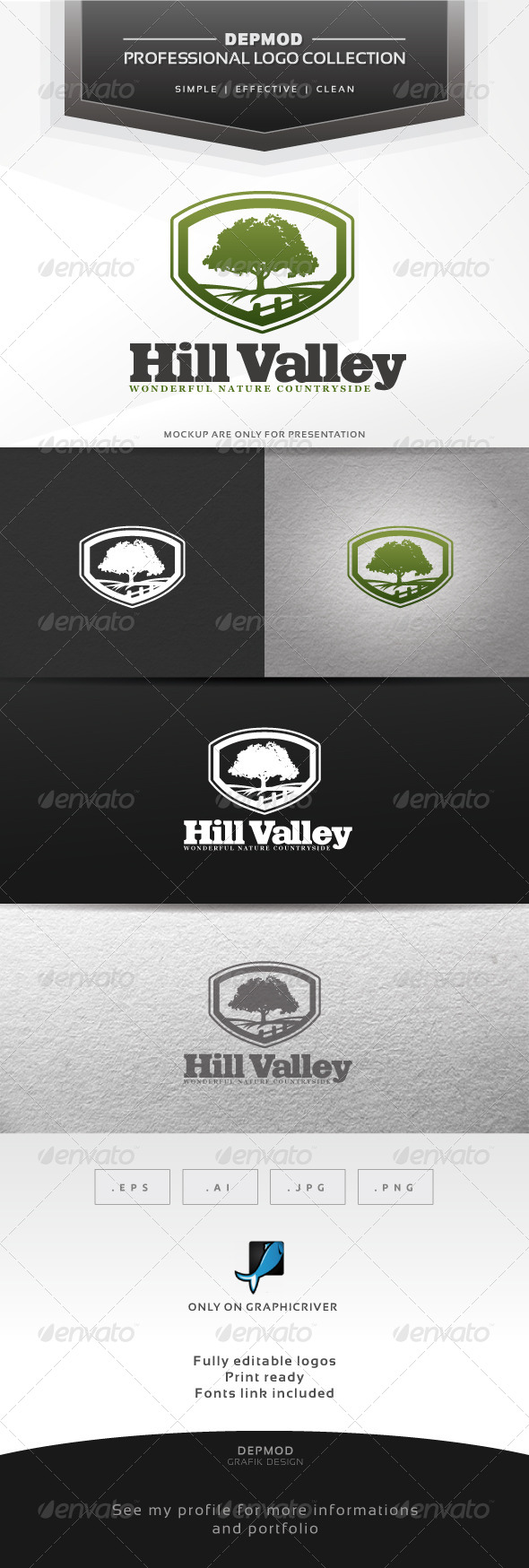 Hill Valley Logo - Nature Logo Templates