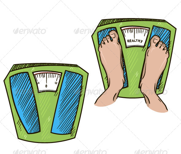 Feet on Weight Scales - Health/Medicine Conceptual