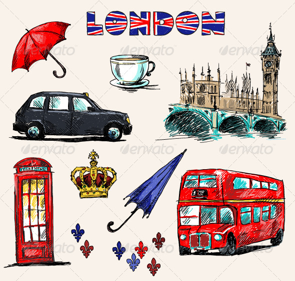 London Symbols. Set of Drawings. - Travel Conceptual