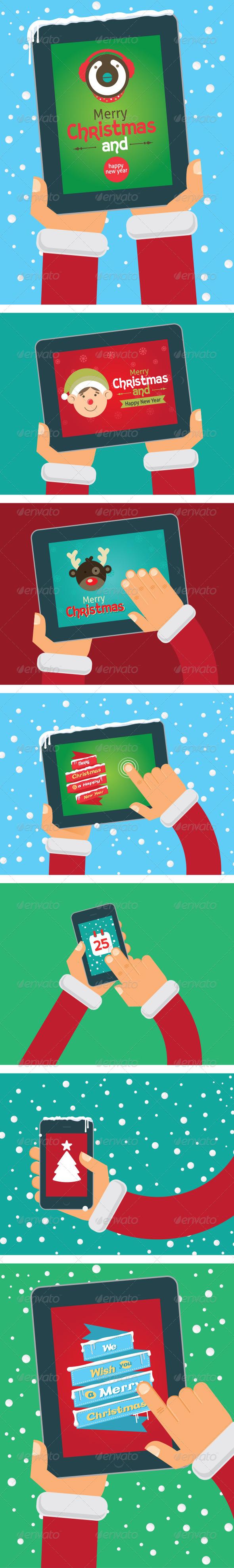 Vector Christmas Cards on Tablet and Phone - Christmas Seasons/Holidays