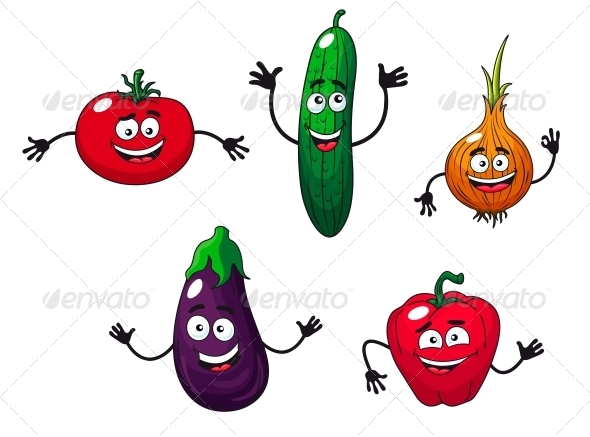 Cucumber, Pepper, Onion, Eggplant and Tomato - Miscellaneous Characters