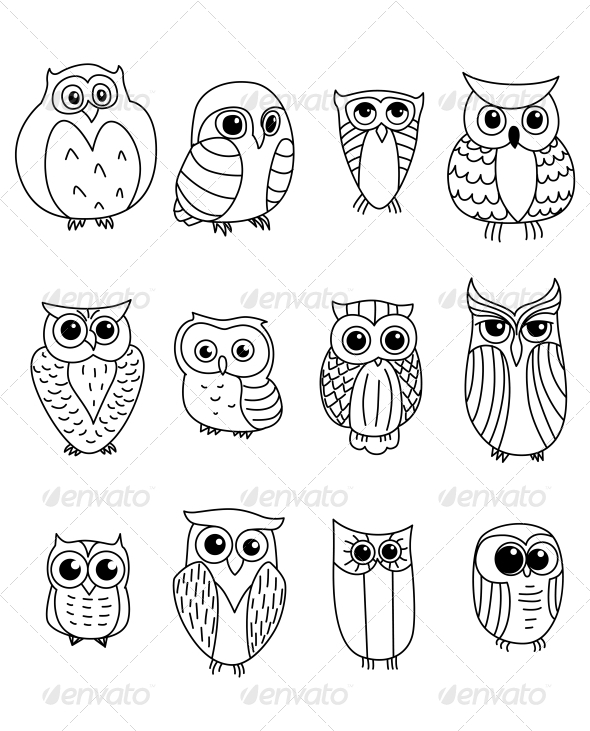 Cartoon Owls and Owlets - Animals Characters