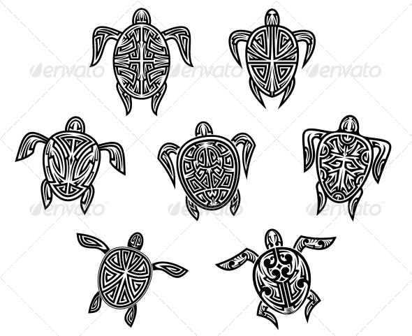 Tribal Turtles Tattoos - Tattoos Vectors