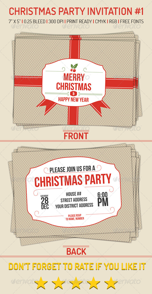 Christmas Party Invitation 1 - Holiday Greeting Cards
