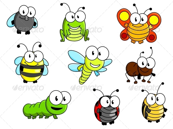Cartoon Insects Set - Animals Characters
