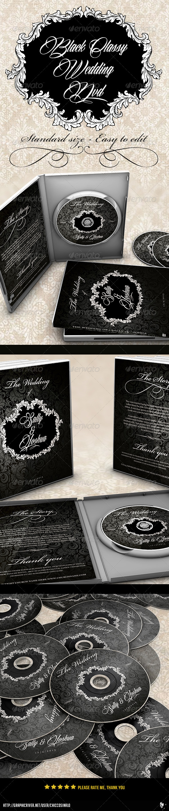 Classy Black Wedding Dvd Label - CD & DVD Artwork Print Templates