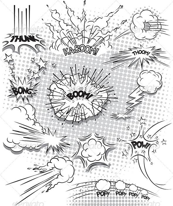Comic Book Explosion Bubbles - Backgrounds Decorative