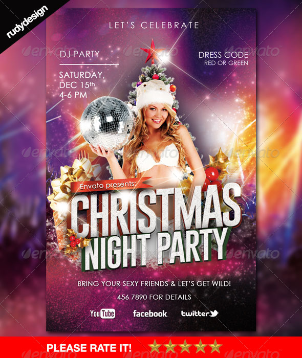 Christmas New Year Night Party Flyer - Holidays Events