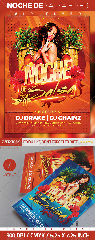 Noche de Salsa Party Flyer - Clubs & Parties Events
