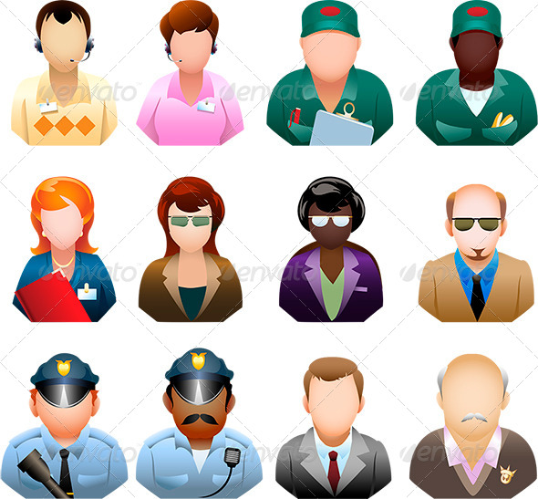 Corporation People Icon Set - Characters Vectors