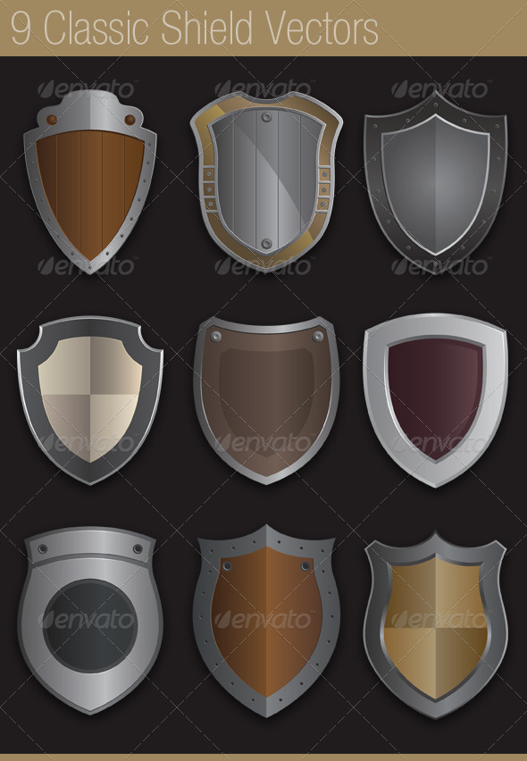 9 Classic Shields in Vector - Man-made Objects Objects