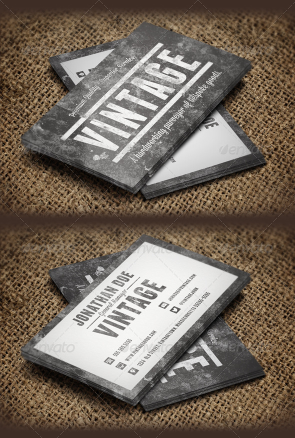 Vintage Grunge Business Cards by ZachMagnuson | GraphicRiver