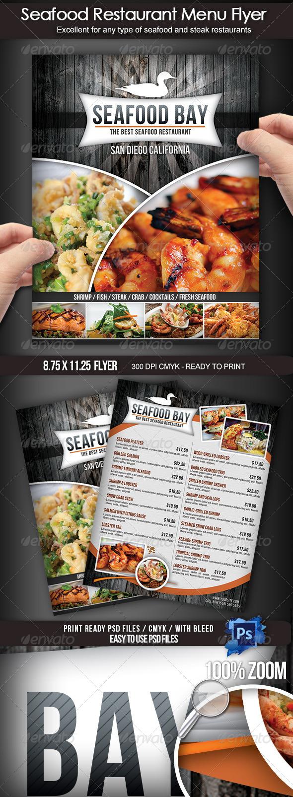 Seafood Restaurant Menu Flyer - Restaurant Flyers