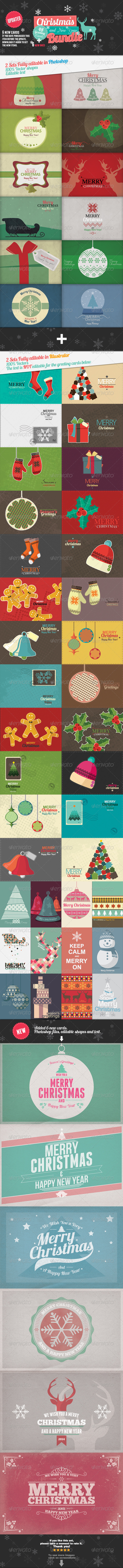 Christmas and New Year 54 Greeting Cards Bundle - Miscellaneous Backgrounds