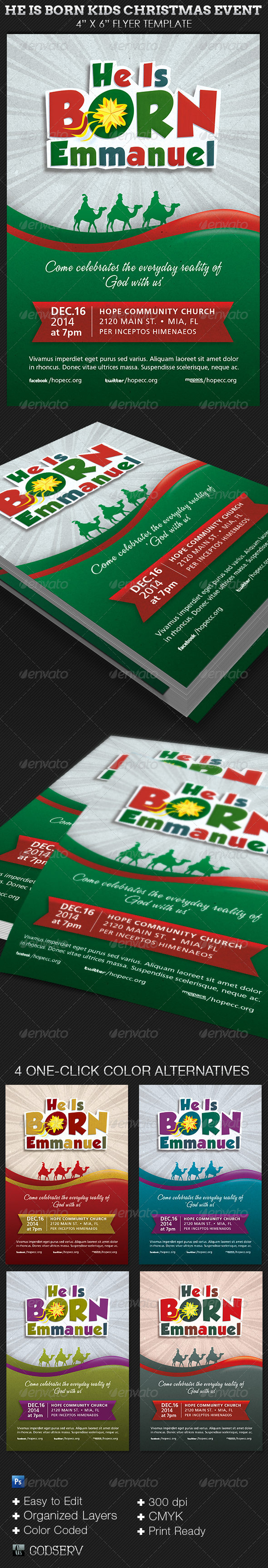 Born Kids Christmas Flyer Template - Church Flyers