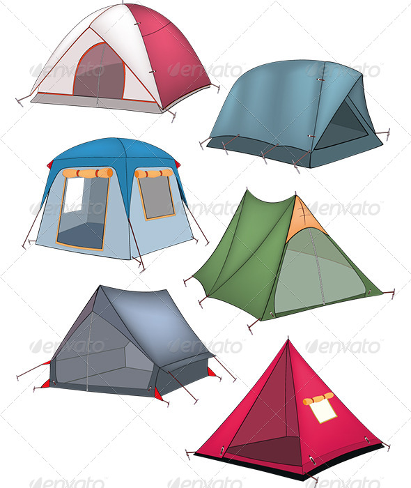 Set of Tourist Tents - Objects Vectors