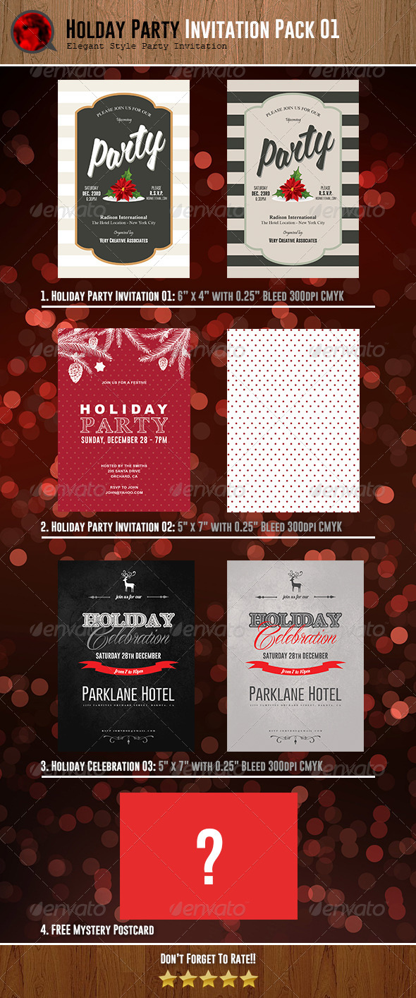 Holiday Party Invitations Bundle 01 - Invitations Cards & Invites
