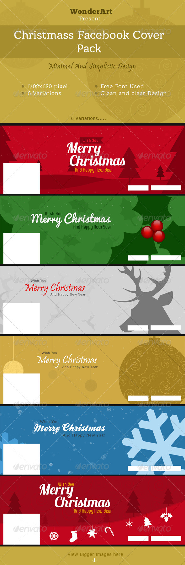 Christmas Minimal Faebook Cover Pack - Facebook Timeline Covers Social Media