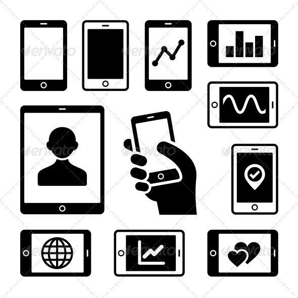 Mobile Gadgets with Business Diagrams Icons Set - Technology Icons