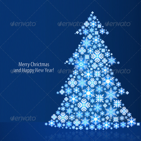 Christmas Background with Christmas Tree - Christmas Seasons/Holidays