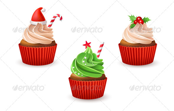 Christmas Cupcakes - Food Objects