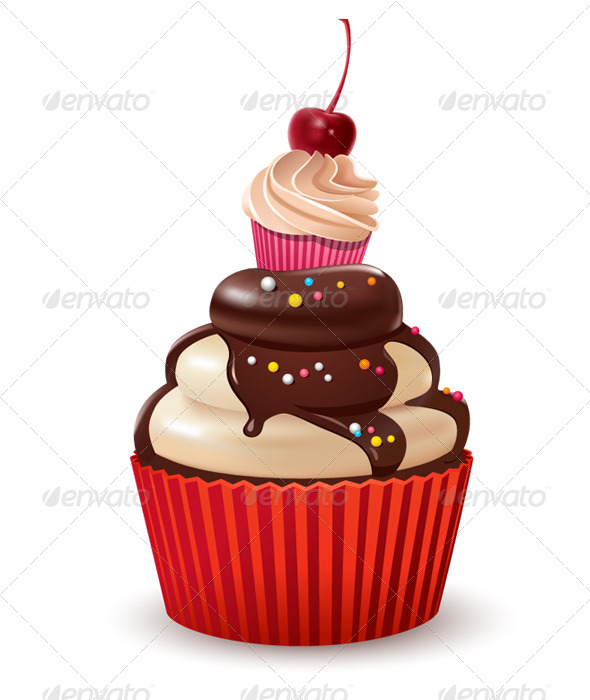 Cupcakes with Cherry and Chocolate - Food Objects