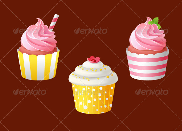 Set of Celebratory Cupcakes - Food Objects
