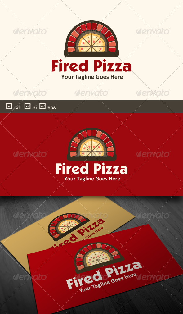 Fired Pizza - Food Logo Templates