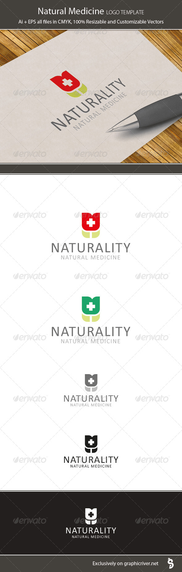 Natural Medicine Logo Template - Vector Abstract