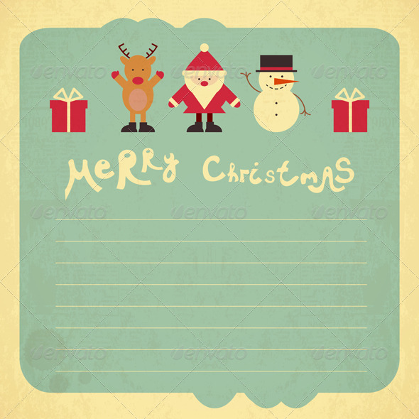 Retro Merry Christmas Card - Christmas Seasons/Holidays