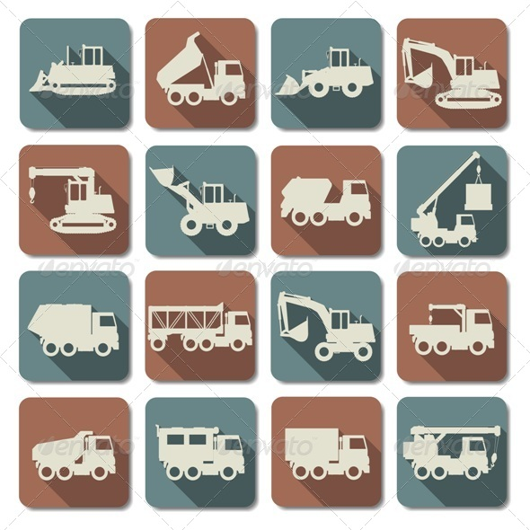 Vector Construction Machines Flat Icons - Industries Business