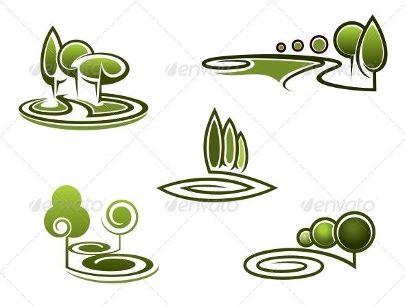 Green Trees Elements for Landscape Design - Landscapes Nature