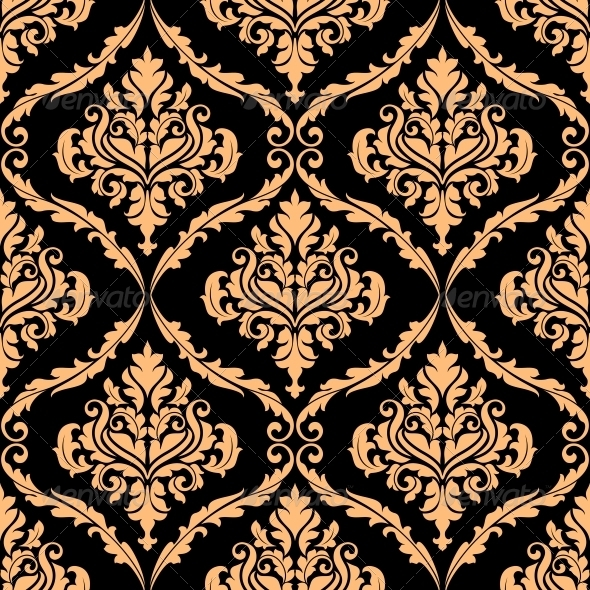 Damask Floral Pattern with Brown Colours - Patterns Decorative