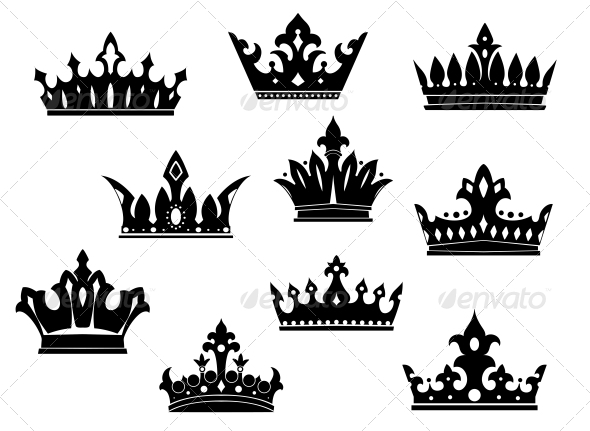 Black Heraldic Crowns Set - Decorative Symbols Decorative