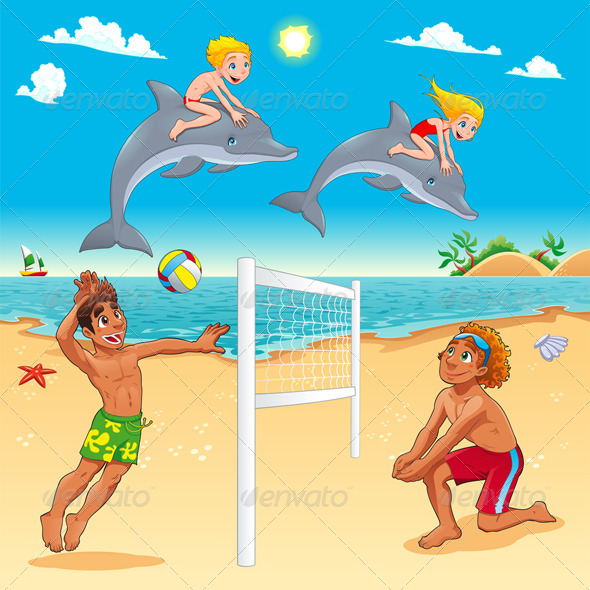 Funny Summer Scene with Dolphins and Beachvolley. - Sports/Activity Conceptual