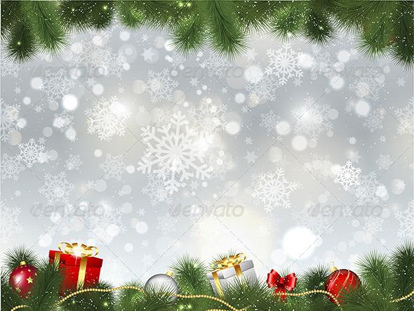 Christmas Background with Gifts - Christmas Seasons/Holidays