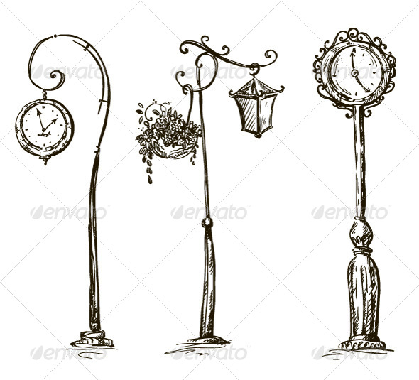Street Clocks and a Lamp Post Hand-Drawn - Objects Vectors