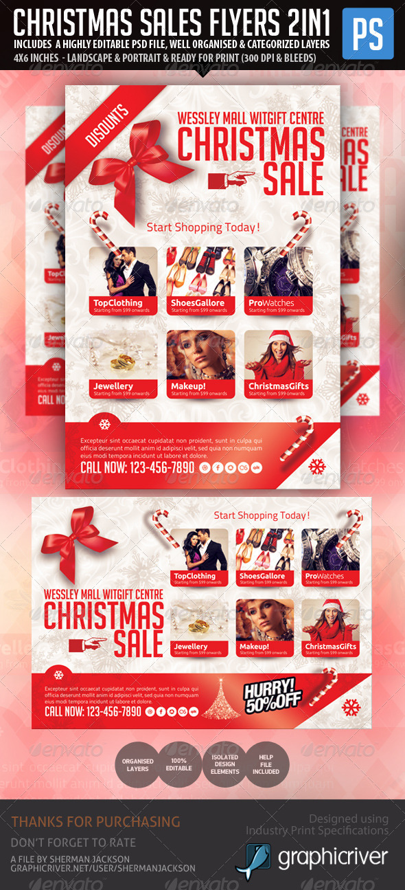 christmas holiday season sales flyer by shermanjackson graphicriver. Black Bedroom Furniture Sets. Home Design Ideas