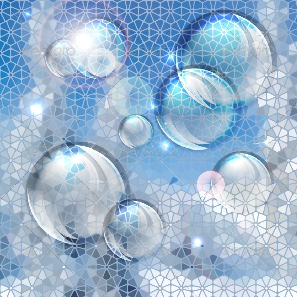 Blue Abstract Bubbles Background - Patterns Decorative