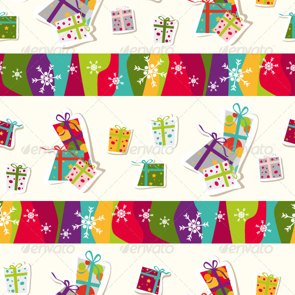 Seamless Pattern with Presents - Backgrounds Decorative