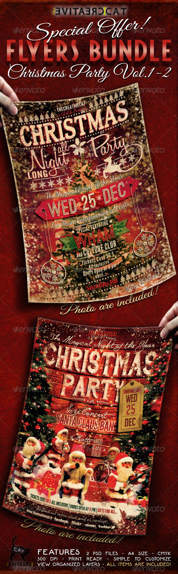 Christmas Party Flyer/Poster Bundle Vol. 1-2 - Events Flyers