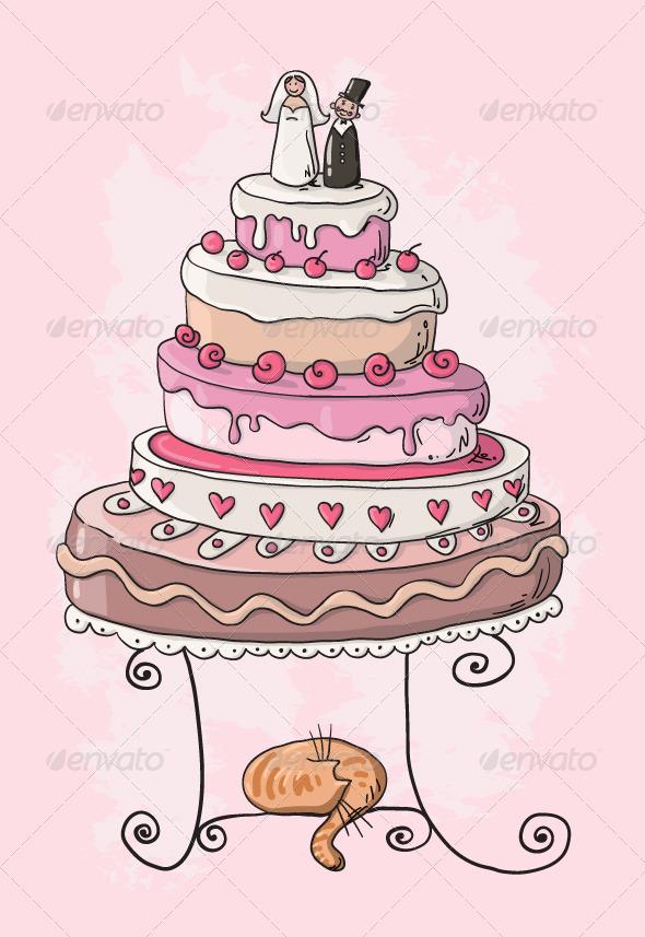 Wedding Cake Cartoon - Weddings Seasons/Holidays