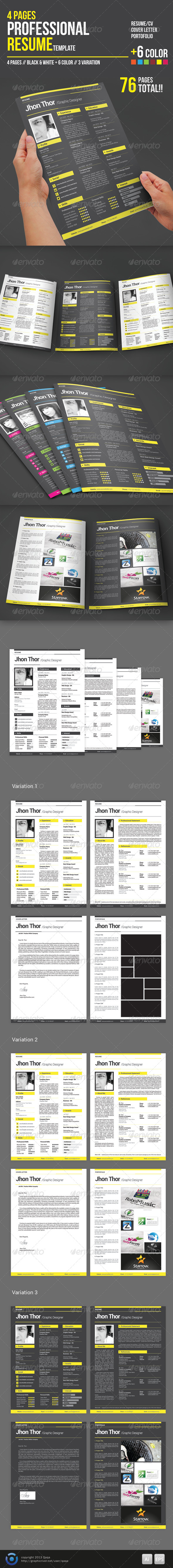 4 Pages Professional Resume Template - Resumes Stationery