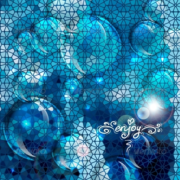 Blue Abstract Air Bubbles Background - Patterns Decorative