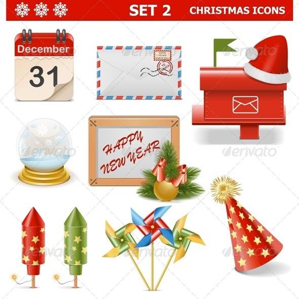 Vector Christmas Icons Set 2 - Christmas Seasons/Holidays