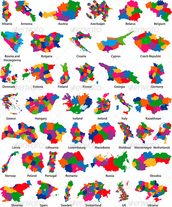 Europe Country Maps - Travel Conceptual