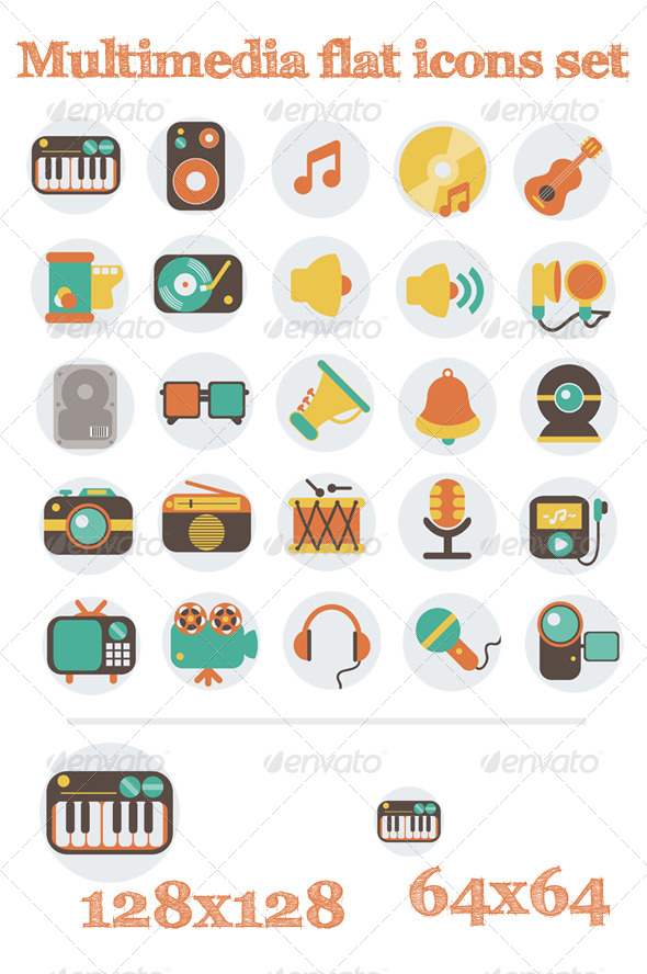 Multimedia Flat Icons Set - Technology Icons